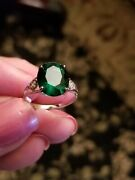 4.00 Ct Russian Emerald And Diamond 10kt Solid Yellow Gold Ring Size 7