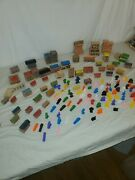 Vintage Kindle City Toy Wooden Blocks And A Lot Of Plastic Colorful Figures