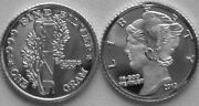 Ten 10 One Gram .999 Pure Silver Us Mercury Dime Rounds - Volume Pricing