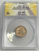 1857 Flying Eagle Small Cent Anacs Au55 Corroded Details Fe Fs-901 Snow-8