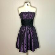 Betsey Johnson Strapless Purple And Black Polka Dot Prom Party Dress Size 8