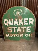 Quaker State Motor Oil Sign 2 Sided Tombstone Metal Sign
