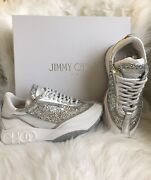 Jimmy Choo Raine Sneakers Trainers Size 38 / 8 White Leather Silver Glitter New