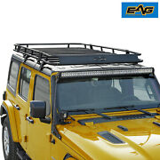 Eag Steel Full Length Roof Rack With Baket 4 Door Fits 18-21 Jeep Wrangler Jl