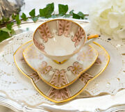 Antique Tea Cup Saucer Desert Plate Germany Porcelain Painted Beautiful Decorate
