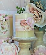 Shabby Chic Vintage Wax Flameless Candle Wedding Baby Shower Romantic Decor.
