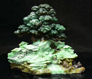 9.6 China Natural Dushan Green Jade Hand Carved Tree Old Man House River Statue