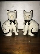 Rare Pair Of Large Staffordshire Cat Figurines 1800and039s Antique 19th Century