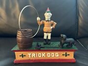 Vintage Mechanical Cast Iron Bank Trick Dog Working Great Condition