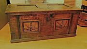 18th C Pa Decorated Chest Wrought Iron Lock And Key