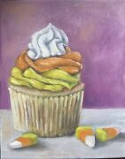 Oil Painting Candy Corn Cupcake 8andrdquox10andrdquo