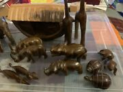 Stunning Antique Hand Carved Solid Wood Folk Art Noah's Ark And Animals
