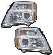 Halogen Headlights Front Lamps Pair Set For 10-14 Gmc Terrain Left And Right