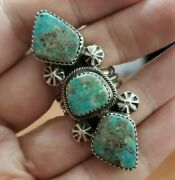 Native American Navajo Sterling Silver Turquoise Ring Sz 7.75 17 G