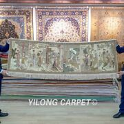 Yilong 2and039x6and039 Long Handknotted Silk Tapestry Twelve Ancient Beauty Hang Rug 116h