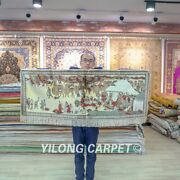 Yilong 4and039x1.8and039 Long Silk Road Tapestry Design Rug Hand Knotted Silk Carpets 086h