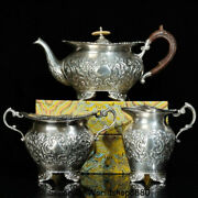 11.4 Antique Old China Silver Dynasty Palace Flower Handle Wine Pot Flagon Set