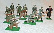 Blue Box Wwii Diecast Toy Soldiers Lot Of 11
