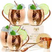 100 Copper Moscow Mule Cups Handcrafted 16 Oz Hammered Mugs Gift Set Safe Pure