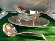 Stunning Mappin And Webb Sauce Boat/tray/ladle Finest Silver Plate Fitted Case See