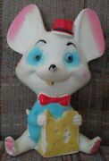 1960and039s Alan Jay Clarolyte White And Blue Mouse Rubber Squeaky Squeak Squeeze Toy