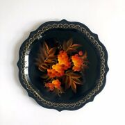 Vintage Russian Lacquer Round Tray/ Plate 7andfrac12 With Orange Leaves And Grapes