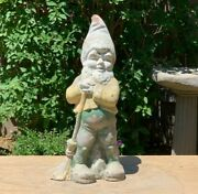 Antique Gnome W/ Broom Statue Old Painted Concrete Patio Lawn Yard Art Figurine