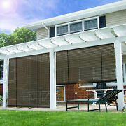 Eandk Patio Roll Up Shades Roller Shade Outdoor Shade Blind Pull Shade-brown