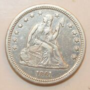 1861 Seated Liberty Quarter ---- Scratch On Obverse