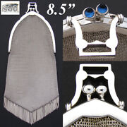 Gorgeous Antique .800 Nearly Sterling Silver 8.5 Mesh Purse Hand Bag Jewels