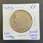 1869 S 50c Seated Liberty Half Dollar, Low Mintage Semi-key Date Coin