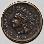 1876 Indian Head Cent - Nice Detail Us 1c Penny Coin Lot 215
