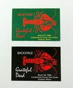 Grateful Dead Backstage Pass Portland Maine Me Lobster Rose 1986 3/27/86 3/28/86