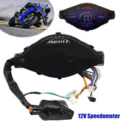 12v Universal Motorcycle Lcd Speedometer Odometer Tachometer For 124 Cylinders