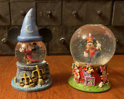 Lot Of 2 Disney Mickey Mouse Snow Globes - Fantasia And 75th Anniversary Circus