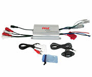 Plmrmp3a Pyle 4 Channel 1200watt Boat Atv Motorcycle Ampifier W 3.5mm Input Em
