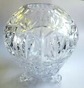 Cut Crystal Glass Tri Footed Ball Globe Heart Vase 9 X 8 Large Vintage