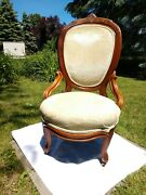 Delivery Available Antique Mahogany Parlor Chair With Burl Inlays Brass Casters