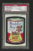 Wacky Packages 1973 Series 1 Maddie Boy Dog Food Psa 5 Black Ludlow Back Rare