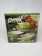 Vintage Nos Pyrex Corning Mixing Bowls Set 440-1 Spring Blossom Green Never Open
