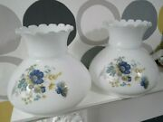 Pair Of Vintage Milk Glass Oil Lamp Shades Vg Condition