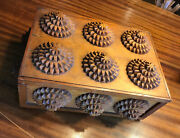 Museum Quality Antique Footed Tramp Art Wood Wooden Box Circle Geometric 4 Layer