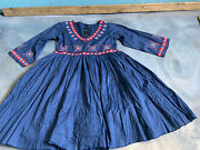 Blue Floral Embroidered Boho Hippie Swing Vintage Look Dress Kate C Nwt S