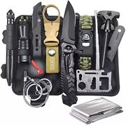 14 In 1 Outdoor Emergency Survival Gear Kit Camping Tactical Tools Sos Edc Case