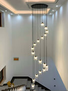 Stair Lamp Long Chandelier Compound Lobby Staircase Led Crystal Ceiling Lighting