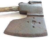 17's Decorated Engraved Antique Hand Forged Axe Hatchet Original Handle - Marked