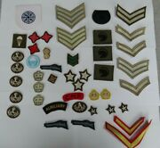 Collection Of 44 Cloth Military Insignia Patches Badges Various