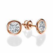 Round Cut 2.00 Ct F/si1 Womenand039s Diamond Stud Earrings 18k Rose Gold