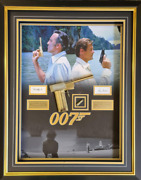 007man With The Golden Gun Presentation Signed By Roger Moore And Christopher Lee