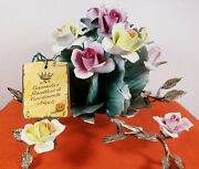 Large Capodimonte Napoli Porcelain Rose Bouquet With Metal Stems With Tag Italy